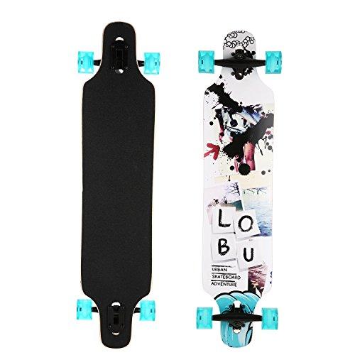 Drop Das Mädchen (Ancheer Longboard Komplettboard Skateboard Drop-Through Freeride Skaten Cruiser Boards Street Freeride Longboard,, ABEC-11, 104x24cm, 70x51 PU-Räder)