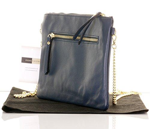 Italienische Leder Clutch Schulter oder Crossbody-Bag, mit Gold Metall-Kette Griff/Schlaufe.Gehört eine Marken-schützende Aufbewahrung Tasche Marine