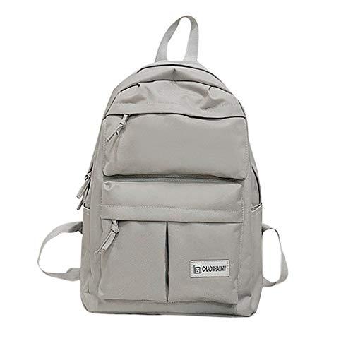 Sammlung Mode Hobo (XZDCDJ Rucksäcke Für Damen Tasche Damen Paar Schul Reisen Wandern Solide Rucksack Sammlung leuchtende Grau)