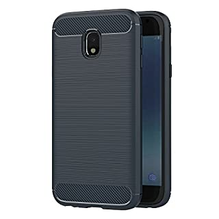 Samsung Galaxy J3 2017 Hülle, AICEK Blau Silikon Handyhülle für Samsung J3 2017 Schutzhülle Karbon Optik Soft Case (5 Zoll SM-J330F)