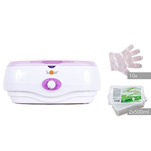 Sunzze Paraffin-Bad PB-300 Komplett-Set mit Paraffin-Erhitzer, 1l Paraffinwachs und Plastikhandschuhe. Fördert die Durchblutung, macht die Hände und Füße weich (Natur)