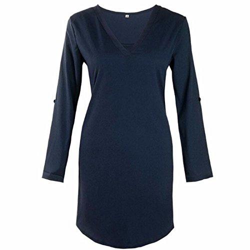 QIYUN.Z Les Femmes V Cou Roll-Up Manches Longues Ourlet Irrégulière Simple Robe De Base De Chemise Bleu Foncé