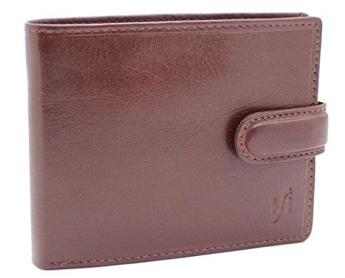 StarHide® Herren Weiches Luxus Italienisches Gemüse Gegerbtes Leder Dreifach Geldbörse Mit ID-Kartentasche, Kreditkarten Taschen & Münztasche #1212 (Braun) (Italienischen Weiche Leder-satchel)