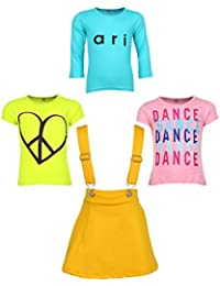 Gkidz Girls Pack of 3 Printed Cotton T-shirts with 1 Pack Stretchable Dungree Skirt (JG-GRAPHICCMB8_N_003DNGRE-YLW_Multicolor )