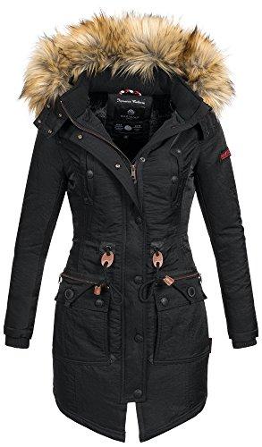 Marikoo warme Damen Winter Jacke Mantel Parka Winterjacke Teddyfell B404 [B404-Schwarz-Gr.S] (Aktuelle Angebote)