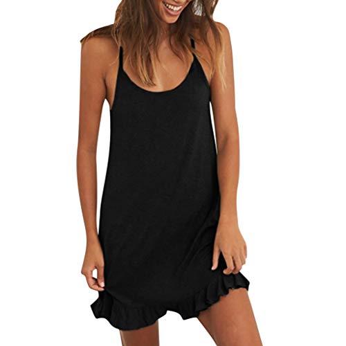 Sommer Kleid Kleider Sommerkleid Damen Sexy Schwarz Rot Weiß T Shirt Bandeau Petticoat Kurzes Swing A Linien Tunika