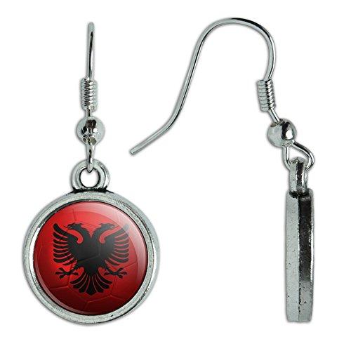 Neuheit Dangling Drop Charm-Ohrringe Soccer Futbol Fußball Country Flagge a-i Albanian Flag Soccer Ball