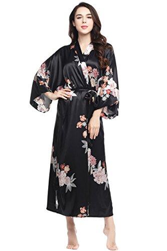 ArtiDeco Damen Morgenmantel Maxi Lang Seide Satin Kimono Kleid Blüten Muster Kimono Bademantel Damen Lange Robe Blumen Schlafmantel Girl Pajama Party 135 cm Lang (Schwarze Blumen)