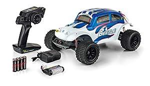 Carson 500404142 500404142-1:10 VW Beetle FE 2.4GHz 100% RTR, vehículo teledirigido, Incluye Pilas y Control Remoto, 2 WD, carrocería Impresa, Instrucciones, Off Road Truggy, Color Blanco y Azul