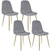 Lot de 4 Chaises Design scandinave Tendance Nordique piétement métal Couleur Bois Naturel et Housse en Tissu 45x50xH85cm (Gris)