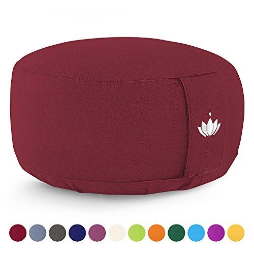 Lotuscrafts Meditationskissen / Yogakissen LOTUS - Bezug: Baumwolle (kbA) - GOTS zertifiziert – Mit Bestickung (Bordeaux Rot)