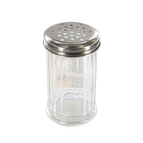 SAVEUR ET Degustation KA1164 Saupoudreur Sucre-Parmesan INOX + Verre, Transparent, 7,5 x 7,5 x 13,5 cm