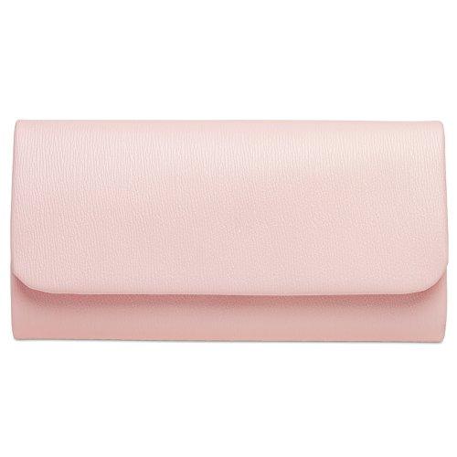 CASPAR TA371 Damen Baguette Clutch Tasche Abendtasche, Farbe:rosa;Größe:One Size