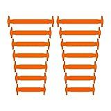 Homar No Tie Lacci per scarpe per bambini e adulti - Impermeabile in silicone elastico piatto Laces Athletic scarpa da corsa con multicolore per Scarpe Sneakerboots bordo e scarpe casual (Kid Size Orange)