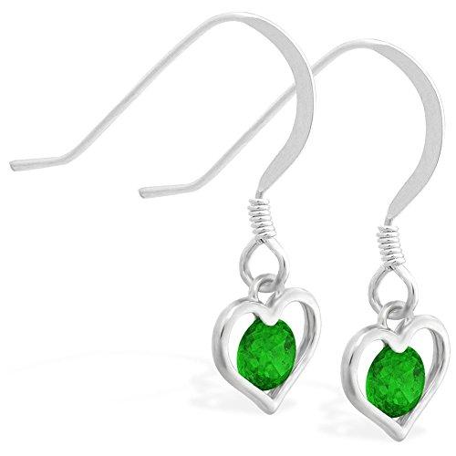Sterling Silber Ohrringe mit kleinen Dangling Lab Erstellt Smaragd Jeweled Herzen