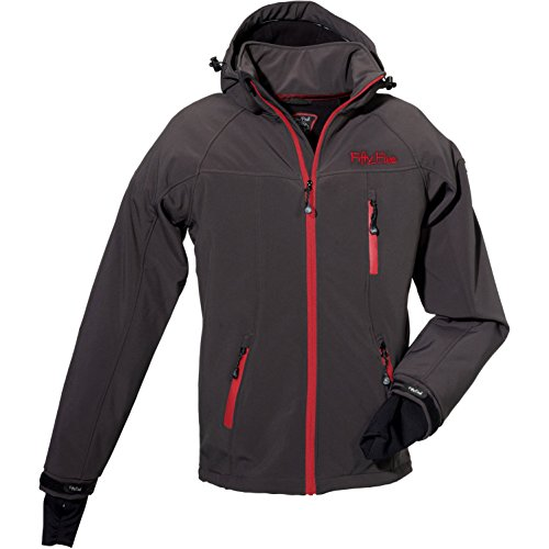 Fifty Five Herren Softshelljacke Funktionsjacke Alert Grau (Anthracite/Red 005)
