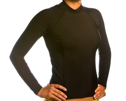 Beach Depot Damen schwarz Long Sleeve Rash Guard SPF 50+ Swim Shirt, Damen, schwarz