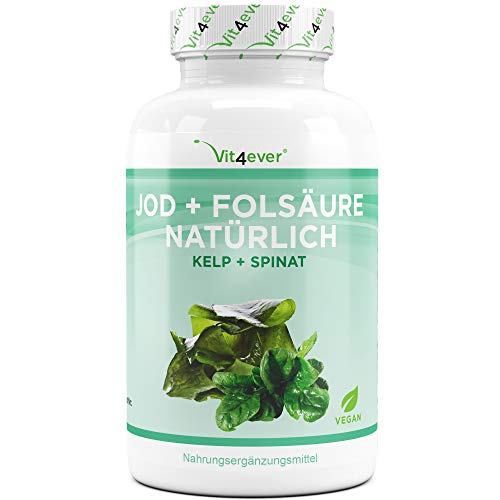 Vit4ever® Jod + Folsäure Natürlich - Für Kinderwunsch & Schwangerschaft - 180 Kapseln mit 150 µg Jod + 800 µg Folsäure (aus Kelp Algen Extrakt & Spinat Extrakt) - Vegan - Hochdosiert -