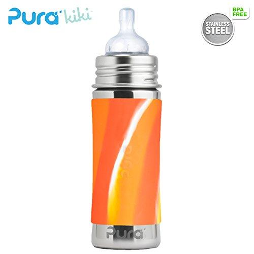 Pura Kiki Trinkflasche - 325ml - Weithalssauger (inkl. Schutzkappe) Pura Farbe/Design Blank + Orange Swirls Überzug