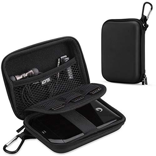 AGPTEK Eva Festplattentasche 2,5 Zoll, Stoßsichere Externe Festplatte Tasche für HDD, SSD Power Bank, Speicherkarte und anderes Zubehör, Schwarz