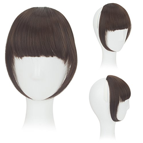 8 Zoll Haar mit Klipp Haar Bang Voll Franse Kurz Gerade Haarverlängerung für Damen