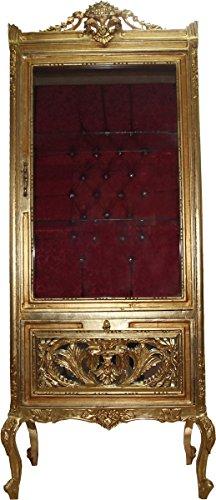 Casa Padrino Barock Vitrine Gold/Bordeaux - Vitrinenschrank - Wohnzimmerschrank Glasvitrine - Antik...