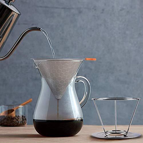 TAOtTAO Amerikanischer Sanduhr-Eiströpfchen-Kaffeefilter aus Edelstahl mit Doppelschicht Bienenwaben-Edelstahl-Kaffeefilter-Kaffeefall mit abnehmbarem Getränkehalter (Korb 4 Filter Tasse Kaffee)
