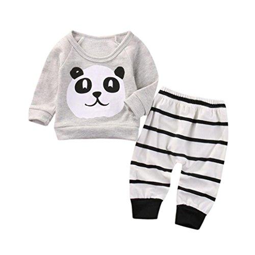 FRYS ensemble bebe garcon hiver panda vetement bébé garçon naissance printemps pas cher manteau garçon mode manche longue chemise blouse haut top sweatshirt t shirt + pantalons (80(6-12 mois), Gris)