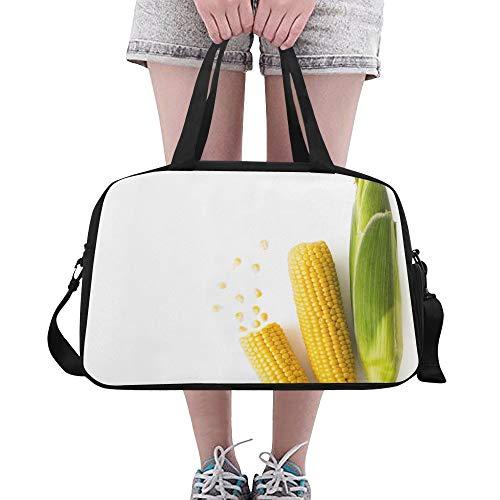 Begeisterter gelber Mais Große Yoga Gym Totes Fitness Handtaschen Reise Seesäcke Schultergurt Schuhbeutel für die Übung Sport Gepäck für Mädchen Männer Womens Outdoor