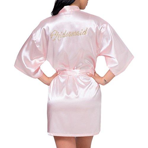 Juleya Satin Silk personifizierte Hochzeits-Robe-Brautjungfern-Braut-Mutter Dressing Gown Pink Bridesmaid (Dressing Gown Silk)