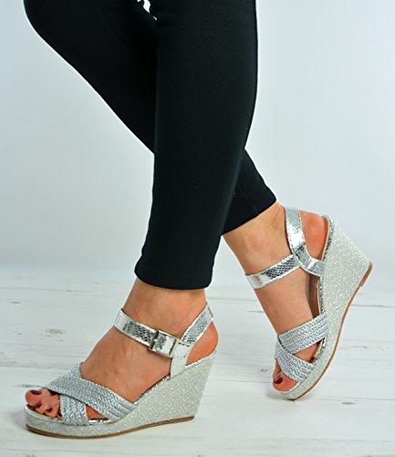 Cucu Fashion ,  Damen Plateau Silber