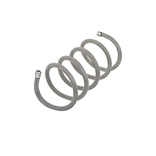 Breil - collana bracciale donna collezione new snake tj2715 - gioiello modellabile in maglia mesh metallica di acciaio - lunghezza 80 cm - acciaio/silver