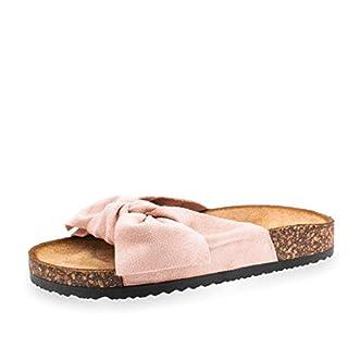 Damen Sommer Pantoletten Sandalen mit Schleife in hochwertiger Wildlederoptik Beige 38