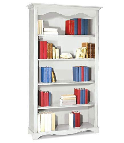 Spazio casa libreria 4 ripiani classica in legno zoccolo aperto - bianco opaco