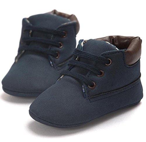 Elyseesen Chaussures en cuir sans couture pour bébé Toddler Bleu foncéA