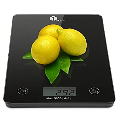 1byone Professional Touch Digital Kitchen Scale Postal Scale Cooking Scale Food Scale, Electronic Scale, Elegant Black Tempered Glass, 11lbs (5kg), Black