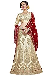 WomenS Beige Color Embroidered LehengaSKQN5423