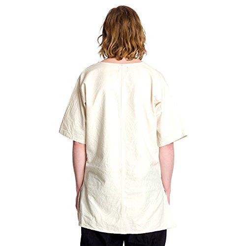 Accessoires de costume - Tunique médiévale pour hommes manches courtes - Coton - Ecru Blanc Cassé