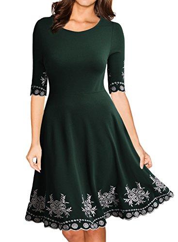 Miusol Damen Abendklei Sommer Kurz Vintage Rockabilly Kleid Cocktail Ballkleid Gruen Gr.L