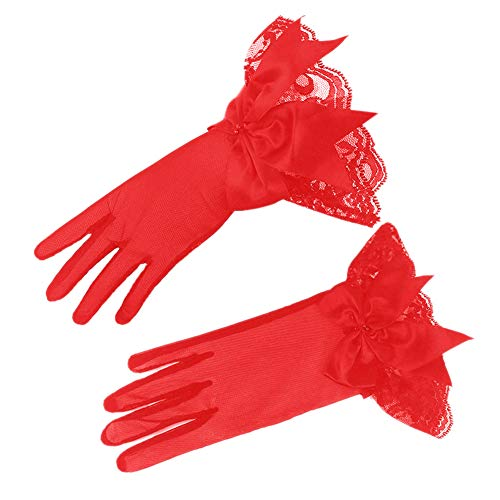 Asudaro Brautkleid Handschuhe Sexy Ärmel Kurz Spitzenhandschuhe Brauthandschuhe Mesh Spitze Bogen Handschuhe Steampunk Armband Kostümhandschuhe Party Handschuhe Damen Fasching Kostüm Accessoires