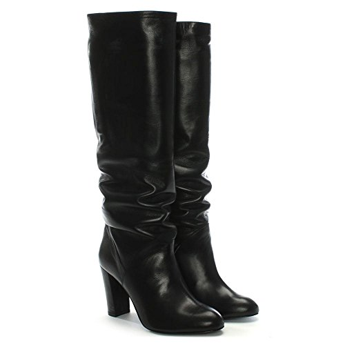 Daniel Atube Black Leather Rouched Knee Boots Black Leather