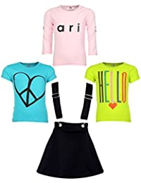 Gkidz Girls Pack of 3 Printed Cotton T-shirts with 1 Pack Stretchable Dungree Skirt (JG-GRAPHICCMB7_N_003DNGRE-BLK_Multicolor )
