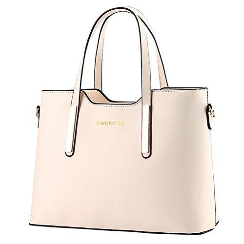 fanhappygo Fashion Retro Leder Damen elegant OL Pendler taschen Schulterbeutel Umhängetaschen Abendtaschen weiß