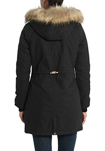 DESIRES Lewanda Damen Parka lange Winterjacke mit Kapuze und abnehmbarem Fellkragen Black (9000)