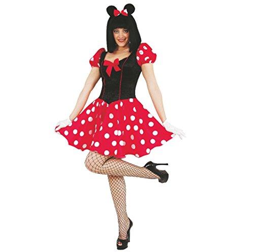 Unbekannt Damen Kostüm Maus, Kleid Rot-Schwarz Karneval (36) -