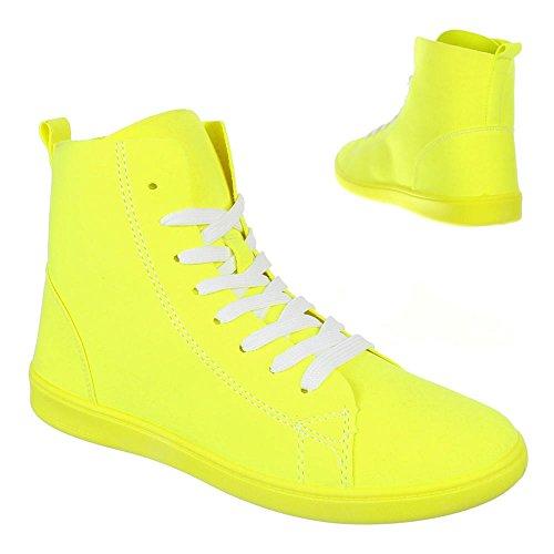 Damen Schuhe, 351-Y, FREIZEITSCHUHE SNEAKERS Gelb