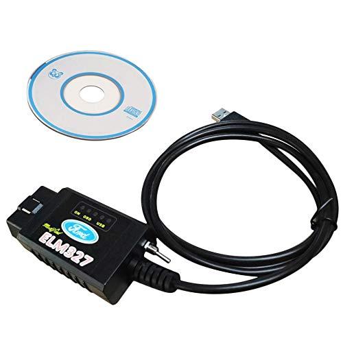 Scanner diagnostique Forscan OBD2 ELM327 MS-Can HS-Can modifié par USB pour  Le Noir de Ford