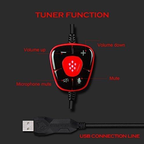 Ansicht vergrößern: USB Gaming Headset, SADES Spirit Wolf 7.1 Surround Sound Kopfhörer mit Mikrofon, Over-the-Ear Geräuschisolierung PC Headset für PC-Spieler (schwarz rot)
