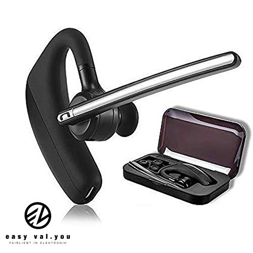 Bluetooth Headset mit Mikrofon für Telefon easy valyou│Auto LKW Business Büro Telefonieren Skype 4.1 KFZ Bloothooth iPhone 5s SE 6s 7 Plus 8 X XS XR Samsung Galaxy S9 S10 S7 A5 A3 Huawei Mate P30 P20 (Bluetooth-telefon)
