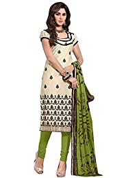 Regalia Ethnic Women's Cotton Dress Material (MFRE126_Free Size_Cream)